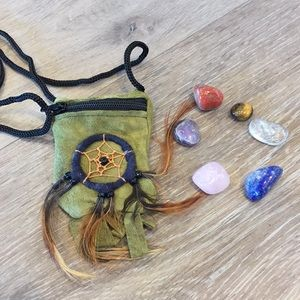 Healing Gemstone Pouch Necklace.  Crystal Healing